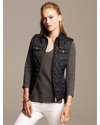 Banana Republic Quilted Vest Br Black - Lyst