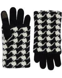 Portolano Houndstooth Fold Over Gloves black - Lyst
