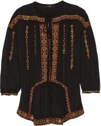 Etro Embellished Silkchiffon Blouse - Lyst