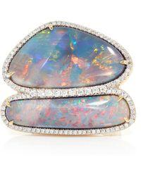 Pamela Huizenga - 18K Gold Ring With Double Australian Black Opals, And Diamonds - Lyst
