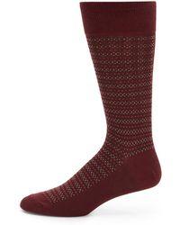 Saks Fifth Avenue Black Fair Isle Socks - Lyst
