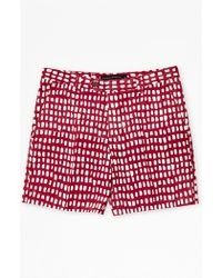 French Connection Painted Grid Shorts red - Lyst