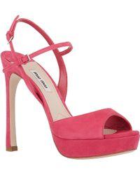 Miu Miu Suede Double Ankle-Strap Sandals - Lyst