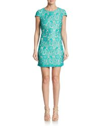 Saks Fifth Avenue Black Label Lace Cap-Sleeve Shift Dress - Lyst