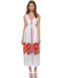 Temperley London Long Amalfi Sleeveless Dress - White Mix - Lyst