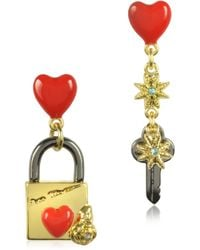 Les Nereides - Paris Mon Amour Engraved Lock Earrings - Lyst