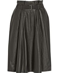 By Malene Birger Lollu Pleated Leather Skirt - Lyst