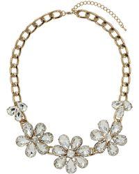Topshop Premium Rhinestone Flower Collar  Clear - Lyst