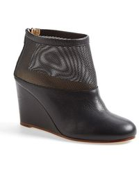 MM6 by Maison Martin Margiela Mesh & Leather Wedge Bootie - Lyst
