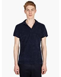 Orlebar Brown Mens Navy Blue Terry Polo Shirt - Lyst
