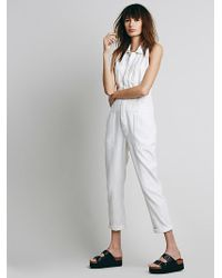Free People Womens Distressed Downtown Overall - Lyst