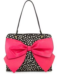 Betsey Johnson Bow Regard Spotted Large Satchel - Lyst