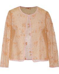 Mary Katrantzou Glitter-embellished Tulle Cardigan - Lyst