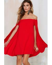 Nasty Gal | Sweetest Cape Off-the-shoulder Dress | Lyst