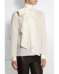 Mulberry Chelsea Pussy-bow Silk Blouse - Lyst