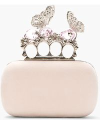 Alexander McQueen Pink Suede Butterfly and Crystal Knucklebox Clutch - Lyst