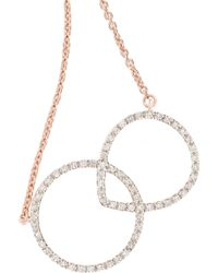 Monica Vinader - Diva Kiss Rose Gold-Plated Diamond Necklace - Lyst