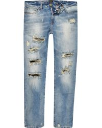 River Island Light Wash Distressed Dylan Jeans - Lyst