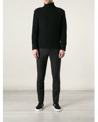 Raf Simons Knitted Sweater with Splitted Roll Neck - Lyst