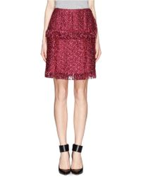 Lanvin Metallic Tweed Fringe Skirt - Lyst