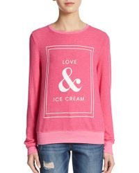 Wildfox Love & Ice Cream Graphic Pullover - Lyst