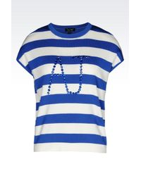 Armani Jeans Top In Striped Viscose With Logo - Lyst