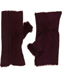 Barneys New York Shearling Fingerless Handwarmers - Lyst