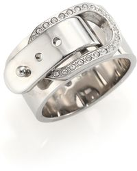 Michael Kors Cityscape Hardware Pavé Buckle Band Ring/Silvertone silver - Lyst