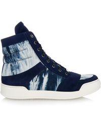 Balmain Tie-Dye Canvas And Suede High-Top Sneakers - Lyst