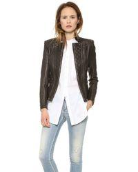 Pierre Balmain Leather Moto Jacket Black - Lyst