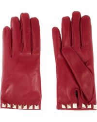 Valentino Studembellished Leather Gloves - Lyst