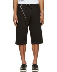 McQ by Alexander McQueen Black Asymmetrical Zip Shorts - Lyst