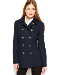 Michael Kors Double Breasted Wool Blend Peacoat - Lyst