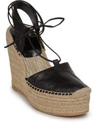 Saint Laurent Leather Espadrille Wedge Sandals - Lyst