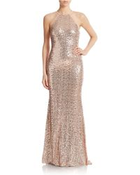 Badgley Mischka Sequin Halter Gown - Lyst