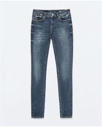 Zara Low Rise Denim Jeans - Lyst