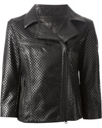 DROMe Perforated Biker Jacket - Lyst