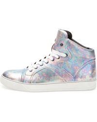 Lanvin Pearlized Leather High-top Sneaker - Lyst
