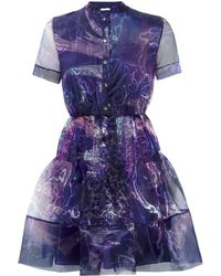 Matthew Williamson Marble Rainbow Organza Shirt Dress - Lyst