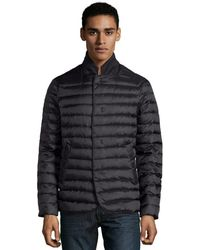 Armani Black Quilted Contrast Collar Down Coat - Lyst