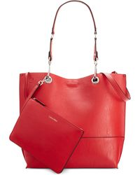 Calvin Klein Reversible Tote With Pouch red - Lyst