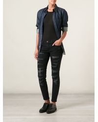 Current/Elliott Ripped Detailed Skinny Jeans - Lyst