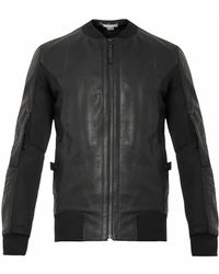 Helmut Lang Leather and Mesh Bomber Jacket - Lyst