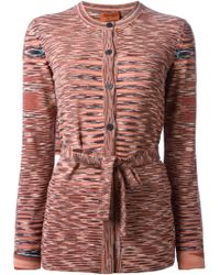 Missoni Belted Waist Patterned Cardigan - Lyst