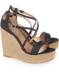 Tabitha Simmons Jenny Denim Wedge Sandals - Lyst