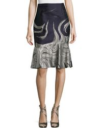 Carolina Herrera Flounce-Hem Cocktail Skirt - Lyst
