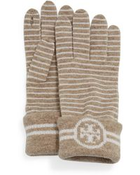 Tory Burch - Striped Wool Gloves With Logo - Lyst