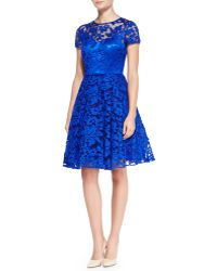 Ted Baker Caree Floral Lace Fitandflare Dress Blue - Lyst