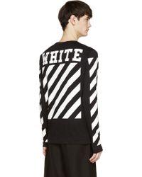 Off White C/o Virgil Abloh Black And White Knit Logo Print Shirt - Lyst