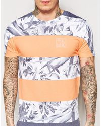Friend or Faux T-Shirt With Floral Stripe Print - Lyst